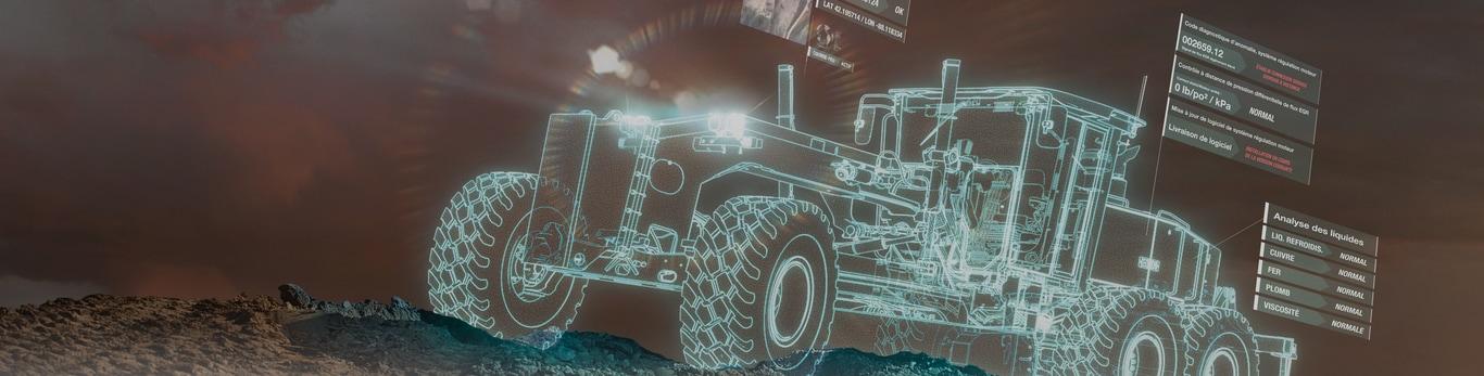 Motoniveladora holográfica con notificaciones de worksight en el lugar de trabajo